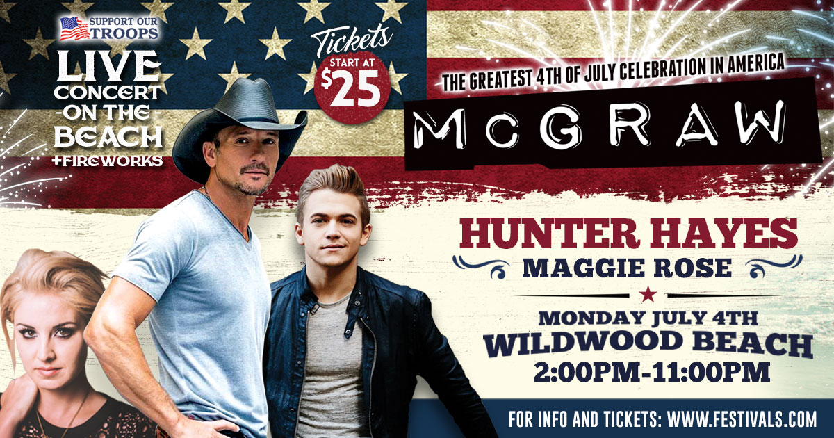 Tim McGraw July 4th Wildwood Beach Concert Tickets with ...